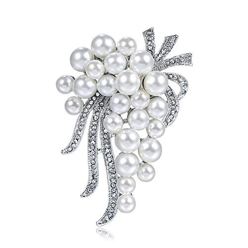 DDLLI White Pearl 18K Brooch Pins Alloy Diamond Plating Accessories for Women Pins for Jackets Hijab Pins Broaches and Pins for Women