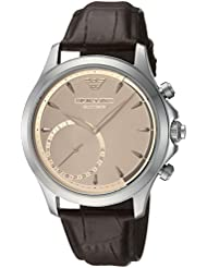 Emporio Armani Mens Quartz Stainless Steel and Leather Smart Watch, Color:Brown (Model: ART3014)