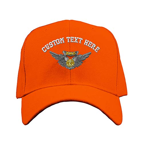 Custom Text Embroidered Aircrew Medal Unisex Adult Hook & Loop Acrylic Adjustable Structured Baseball Hat Cap - Orange, One (Air Medal Hat)