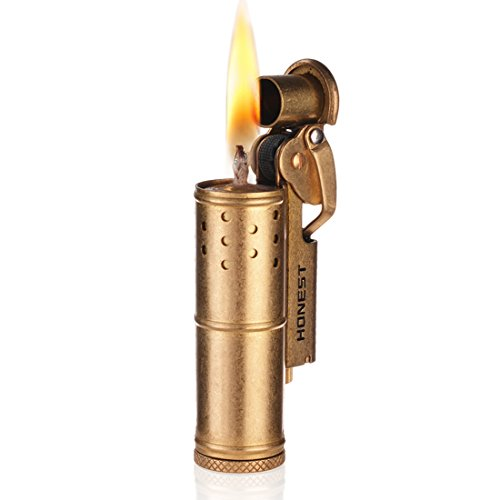 Wheel Kerosene Lighter,Trench Lighter Vintage Fine Copper Windproof Creative Personality Brass Lighter For Collection/Decorative/Gift/Present(Copper) (Cigarette Nice Lighters)