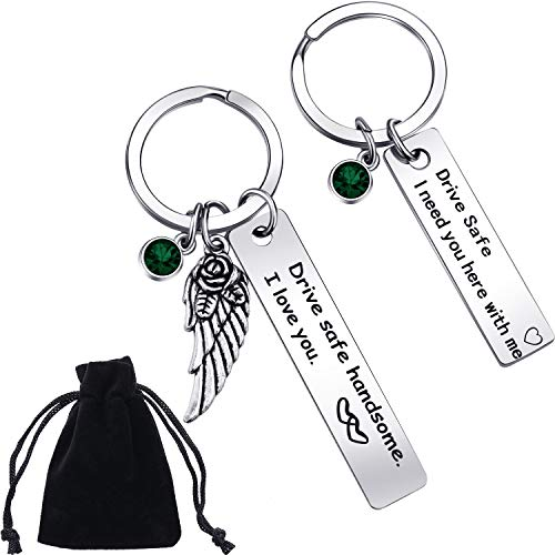 Boao 2 Pieces Drive Safe Keychains with Birthstone Engraved Wing Pendant Keychains I Need You Here with Me Keychain Sets for Trucker Dad Husband Mom Valentines Day (May Birthstone)