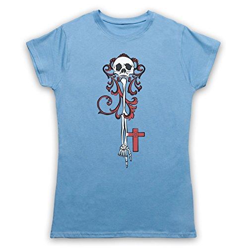 Skeleton Key Gothic Illustration Camiseta para Mujer Azul Cielo