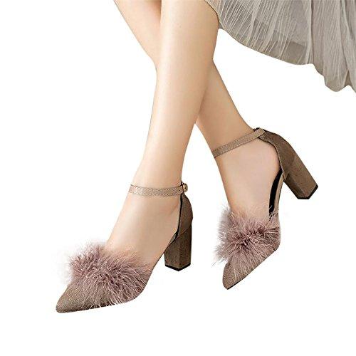 BUIMIN Las Mujeres Zapatos de Tacón Altos con Pelusa, Casuales, Elegante,Cómodo, Talla 35-39, caqui