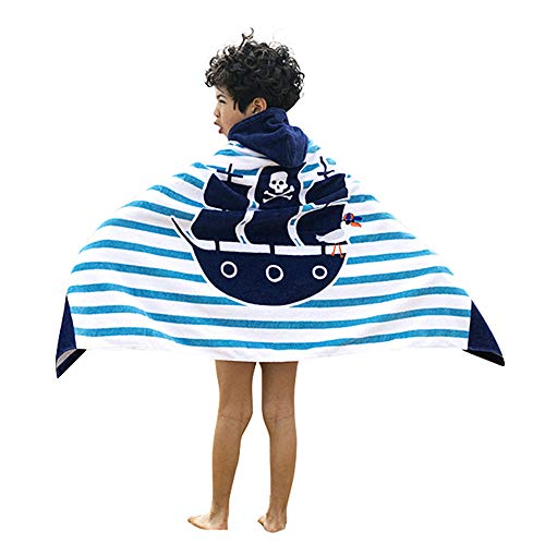 "InsHere Pirate Hooded Towel for Toddlers Under Age 7, 100% Cotton Super Soft and Absorbent, 50""x30 Oversize Bath/Beach/Swimming/Bathrobe Cloak for Baby Kids Pirate Ship"