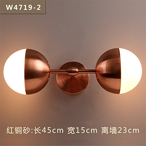 - Industrial Vintage Wall Sconces Wall Lights in Road corridors stairwells Restaurant Bedroom Bed Modern Wall Lights, Dual-Head, red Copper Yarn, Length 45cm 23cm Width 15cm Away from The Wall.
