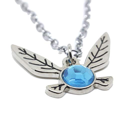 Onlyfo Video Game The Legend of Zelda Butterfly with Sapphire Pendant Necklace with Jewelry Box,The Legend of Zelda Necklace for Boys, Girls (Antique Silver) (Video Game Necklace)