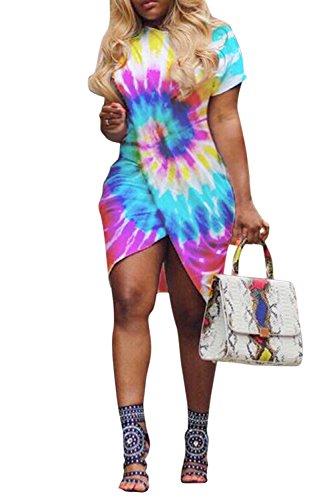 PinkWind Women Sexy Plus Front Slit Wrap Club Party Short T-Shirts Dress XL ()
