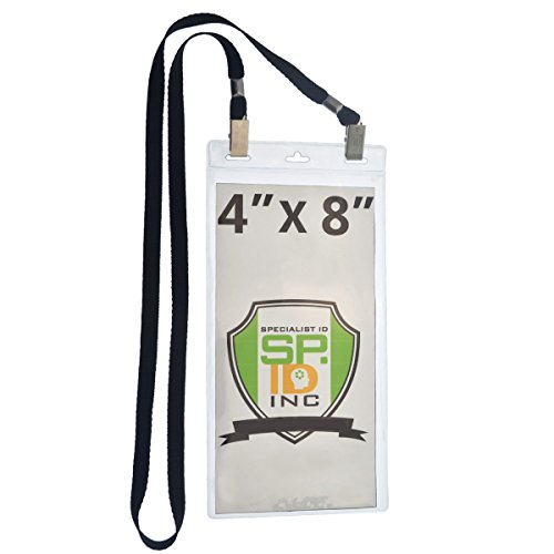 (5 Pack - Extra Large 4 x 8 Inch Ticket & Event Credential Badge Holders with Double Sided Lanyards with Two Bulldog Clips, by Specialist ID (Black))