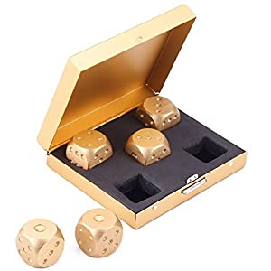 eoocvt 5 in 1 Precision Aluminum Alloy Solid Metal Dices Poker Party Game Toy Portable Dice Man Boyfriend Gift – Golden