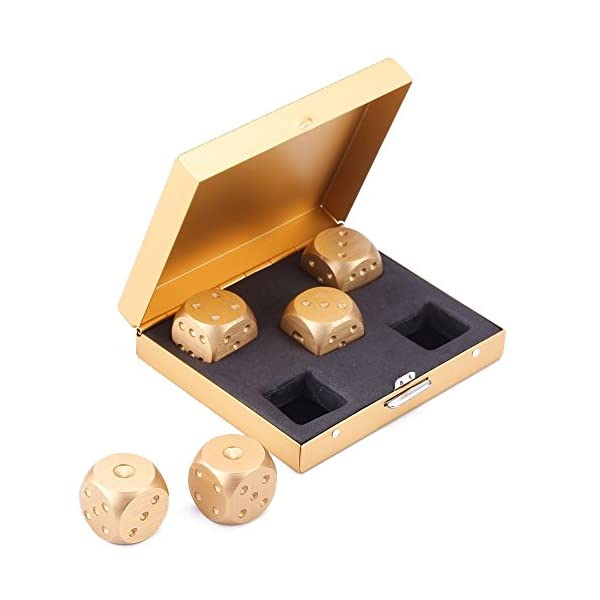 eoocvt 5 in 1 Precision Aluminum Alloy Solid Metal Dices Poker Party Game Toy Portable Dice Man Boyfriend Gift - Golden 3