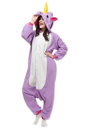 OLadydress Unisex Unicorn Costumes Pyjamas, Adult Women Men Animal Cosplay Onesie Purple Small]()