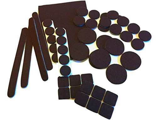 Felt Pads Brown (51 Piece Combo) - Self Stick Furniture Pads to Protect Wood, Laminate, Tile Flooring. Ultra Strong Adhesive, Heavy Duty, Easy to Peal & Stick