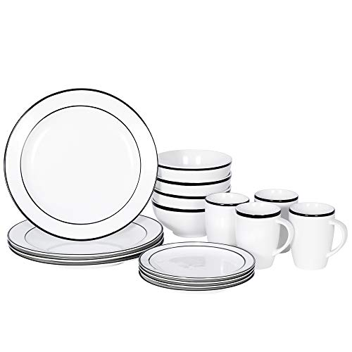 SUPER DEAL Round 16-Piece White Black Kitchen Dinnerware Set, Service for 4, Plates Bowls Mugs– Microwave, Oven and…