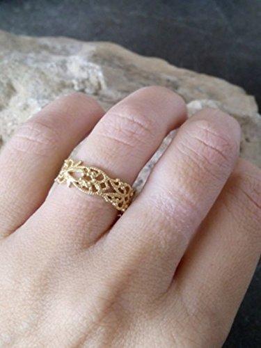 Amazoncom Lace bandwedding bandTexture ringthin ringslim ring