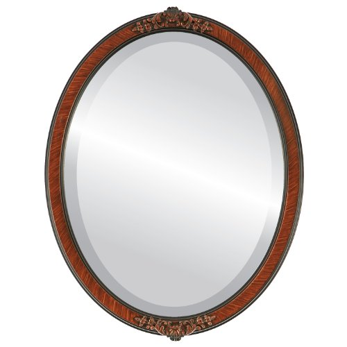 Cheap Oval Beveled Wall Mirror for Home Decor – Athena Style – Vintage Walnut – 22×26 outside dimensions