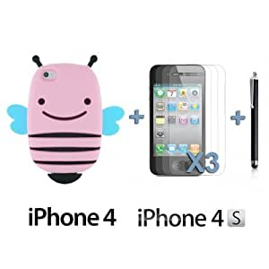 OnlineBestDigitBee Style 3D Soft Silicone Case For Ipod Touch 5 Cover NBAPink with 3 Screen Protectors and Stylus