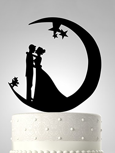 Rubies & Ribbons Wedding Cake Topper - Romantic Couple Kissing in Moon Silhouette Party Decoration with Gift Box