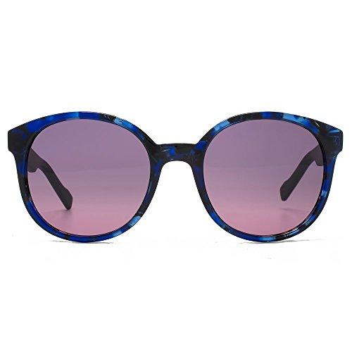 Boss Orange Preppy Round Sunglasses in Havana Blue BO 0175/S K1S - Boss Sunglasses Blue Orange
