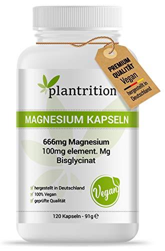 plantrition Magnesium Kapseln 100 mg elementares Magnesiumglycinat pro Kapsel - Magnesium-Bisglycinat hochdosiert - 120 Vegane Kapseln