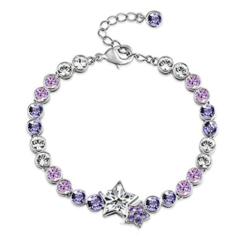 I's Fashion Jewelry Ocean Love Blue Austrian Crystal Star Charms Silver Plated Bracelet for Women (Ancient Greek Outfits)