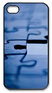 iPhone 4S/4 Case Cover - Puzzle Designer Customize PC Back Cover Case for Apple iPhone 4s and iPhone 4 - Black