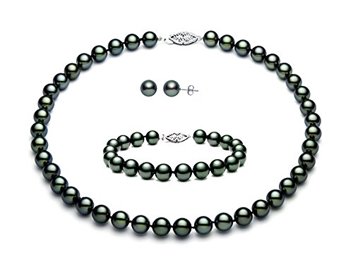 Sterling Silver Black Peacock Freshwater Cultured Pearl Set AAA Quality (5.5-6mm) by Premium Pearl, Inc