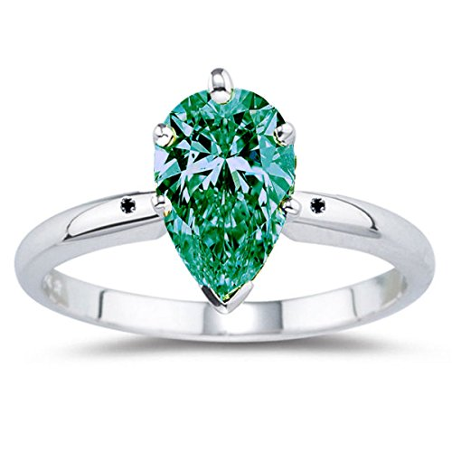 RINGJEWEL 7.81 ct I2 Pear Moissanite Solitaire Engagement Silver Plated Ring Green Blue Color Size 7 by RINGJEWEL