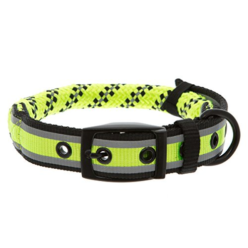 KONG Reflective Rope Dog Collar Medium Lime Green