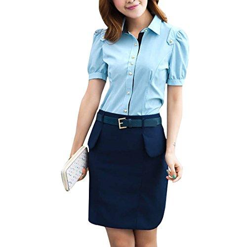 Vshop-2000 Women Point Collar Short Sleeve Front Button Closure Summer Shirt