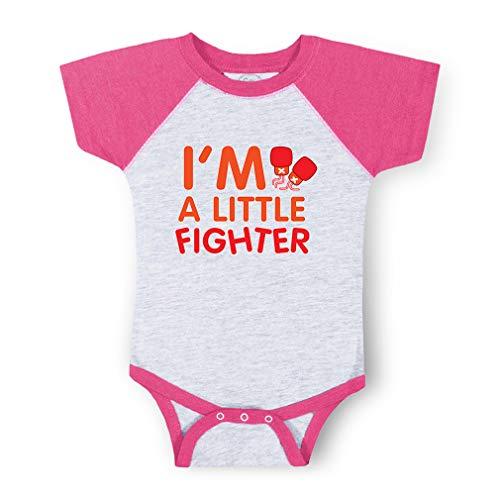 I'm A Little Fighter Short Sleeve Taped Neck Boys-Girls Cotton Baby Baseball Raglan Bodysuit Jersey - Gray Hot Pink, 6 Months