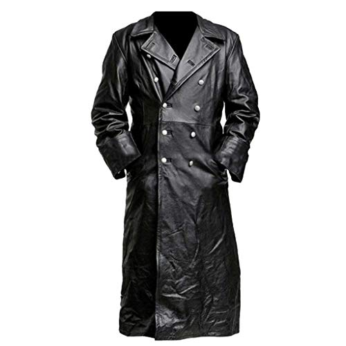 DAGE Double Button Leather Coat Men's New Style Medieval Vintage Clothes Pure Long Jacket Lapel Magic Agent Costume from DAGE