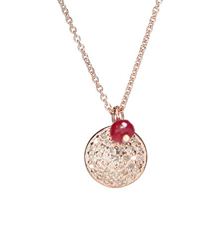 Rose Gold Pave Diamond Disc Pendant Necklace with Ruby- 17