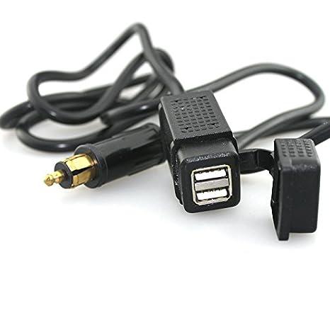 Amazon.com: Adaptador de cargador doble USB con cable de ...