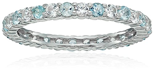Rhodium Plated Sterling Silver Alternating Round Genuine Sky Blue Topaz and Created White Sapphire Eternity Ring, Size 7