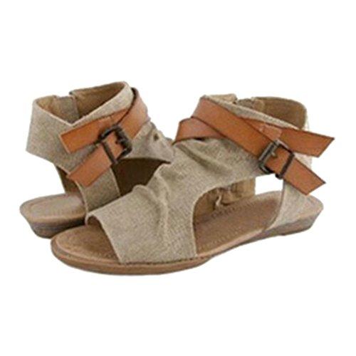 Aire Caqui Plano Sandalias Abierta Mujer De Sandalias Romano Rutina Zapatos Zapatos Verano Ejercicio Kootk Casual Al Punta Libre TPqg00
