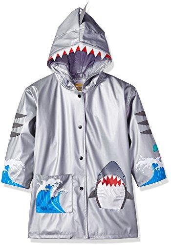 Apparel Kidorable - Kidorable Boys' Little Shark Pu All-Weather Raincoat, Gray, 4/5