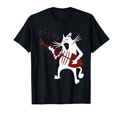 - Cat playing fish bone guitar rock and roll shirt gift