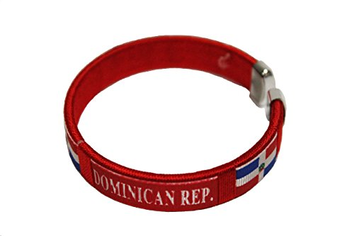 (SUPERDAVVES SUPERSTORE Dominican Republic Red Country Flag Flexible Adult C Bracelet Wristband. 2.5 Inches in Diameter X 0.5 Inches Wide New)