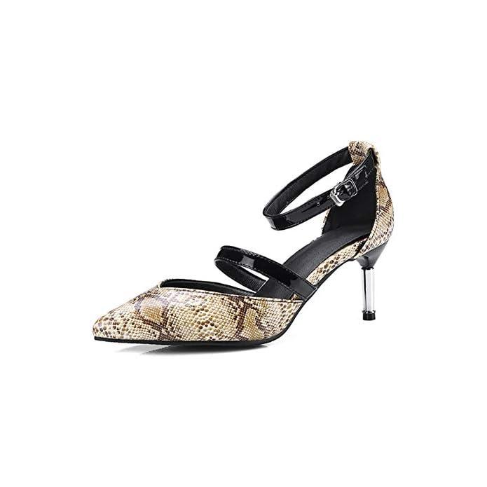 Pingxiannv Donna Scarpe Tacchi Alti Décollé Estate Serpentine Lady Dress Shoes Sottili A Punta Singola