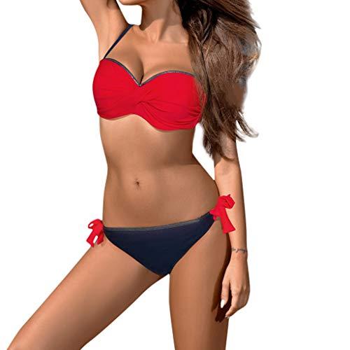 YOcheerful Womens Tie Knot Front High Waist Thong Bandage 2PCS Bikini Sets Beachwear Bathing Suit Swimwear Red ()