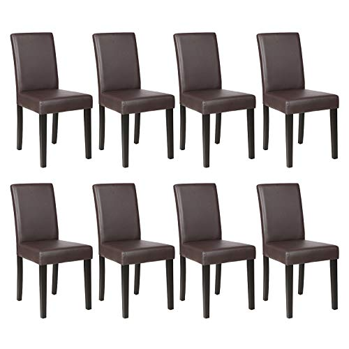 Mecor Dining Chairs Set of 8,Kitchen Leather Chair with Solid Wood Legs Leather Padded Dining Room Furniture (8xBrown)