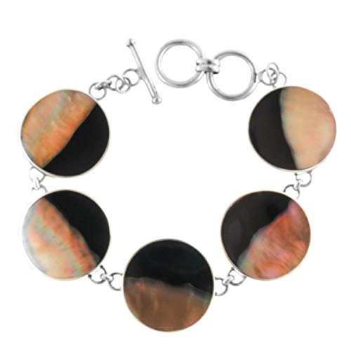 (Stunning Five Round BROWNLIP Mother of Pearl Shell 925 Sterling Silver Bracelet YE-1494)