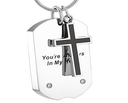Casket Etcetera Cross with Tags Cremation Urns, Keeps Your Love Ones Ashes - Jewelry Ring Cross Key Pendant