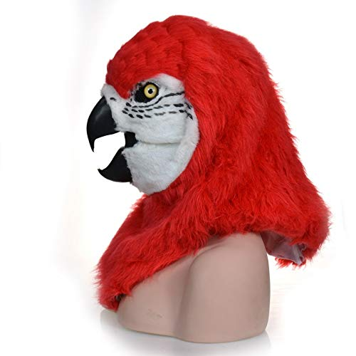 KX-QIN Fashion Function Mouth Moving Furry Mask Green Parrot Animal Head Mask Deluxe Novelty Halloween Costume Party Latex Animal Head Mask for Adults and Kids (Color : Red) by KX-QIN