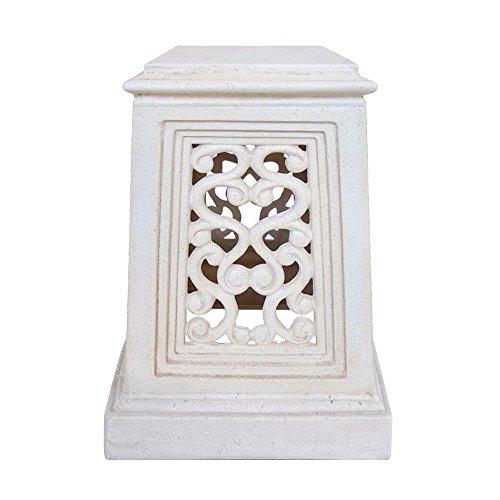 MPG 19 in. H Aged White Cast Stone Pedestal (Pedestal Stone White)
