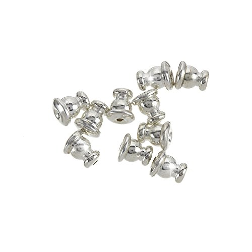 Ear Stud Backs Bullet Clutch Silver Plated Stoppers 5mm Beads Jar