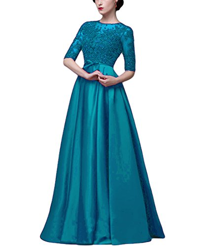 VikDressy Women's Wine Red A-Line Sequined Lace Appliques Prom Dress Half Sleeves Matte Satin Evening Gown ()