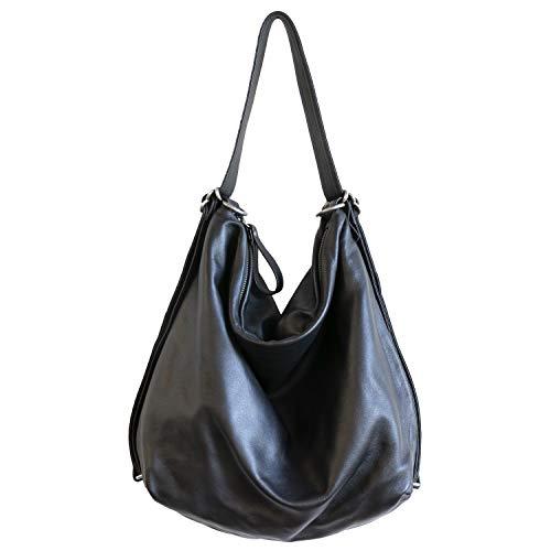Hobo Pack Convertible Backpack Leather Handbag (Black) ()