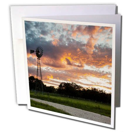 3dRose Danita Delimont - Sunsets - Clouds and windmill at sunset - 6 Greeting Cards with envelopes - Block County Orange The At