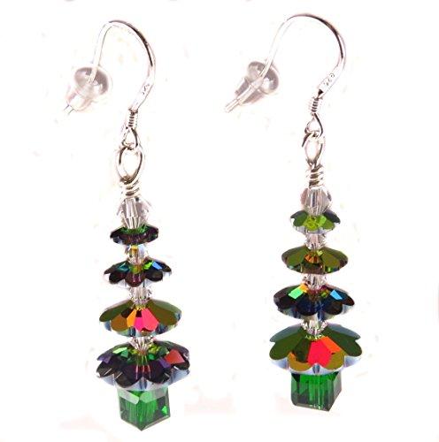Handmade Christmas Holiday Earrings Irridescent Swarovski Crystal Christmas Tree Sterling Silver Ear Wires Wire Christmas Tree Earrings